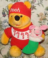 "Vintage Winnie Pooh Piglet Christmas Stocking Plush 16"" Disney 1996 Mattel Toy"