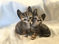 Twin Tabby Cat Painted Porcelain Bisque Figurine