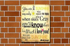 YOU ARE MY SUNSHINE,MUSIC,MODERN Verse,Collectable,Enamel,Metal,Sign.333