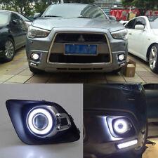 Clear Fog Lights Kit+COB Angel Eye Bumper Frame For Mitsubishi ASX 2010-2012