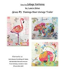 Teeny Tiny Collage Quilt Patterns Group 3 Flamingo Bear Trailer by Laura Heine