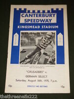SPEEDWAY - INT - CANTERBURY V GERMAN SELECT - AUG 16 1975