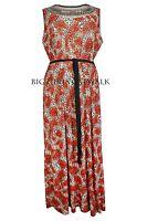 Ladies Maxi Dress Orange Black Leopard Plus Sizes 16, 18, 20, 22 / 24, 26 / 28
