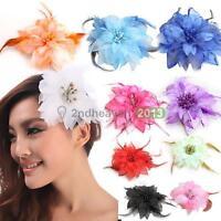 Hot Headdress Flower Feather Belly Dance Hair Pin Brooch Clip Party Wedding BEST