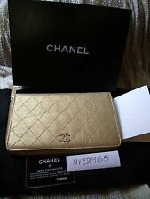 Jumbo CHANEL QUILTED ZIP AROUND METALLIC GOLD WALLET CLUTCH NEW BOX LARGE LONG