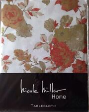 NEW Nicole Miller Floral Tablecloth Cotton 60 x 84 Oblong White Coral Green NIP