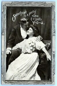 Postcard~ Romance~ Sweetheart Is A Pretty Name If It Spells You~ A787
