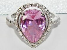 Sterling Silver (925) 5.00ct Pink Topaz Large Cluster Cocktail Ring size P