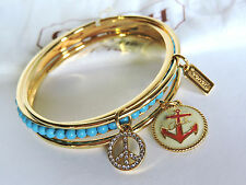 Coach Nautical Anchor Peace Gold/Teal Pave Crystal Bangle Bracelet Set of 3 NWT