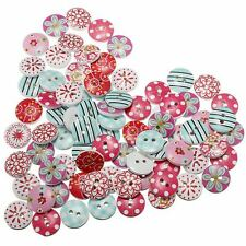 80 pcs Wood Button 2mm Round Flowers 2 Holes Scrapbooking DIY Sewing Crafts USA