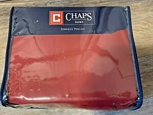 CHAPS SOMERSET PERCALE KING SIZE SHEET SET RED NEW IN PACKAGE