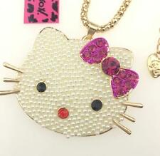 Betsey Johnson Fashion Charm Bowknot Cat Pendant Rhinestone Enamel Necklace hot