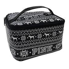 Victoria's Secret Pink Train Case Travel Bag Makeup Black White Dog Logo New Vs