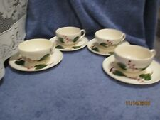 Canonsburg Pottery STANHOME IVY Skyline Cups and Saucers 4 Sets Hard to Find