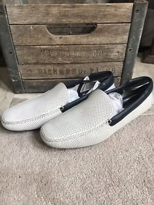 PRADA men's white perforated loafers w/blue trim sz UK 11 / US 12 w/shoe trees
