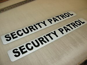 "3 SECURITY PATROL Magnetic Signs 3""x24"" Police Constable  4 Car Truck SUV"