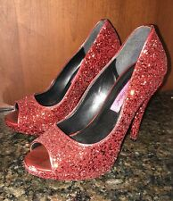 Betsey Johnson Peep Toe Heels Size 7.5 Red glitter-Gorgeous!