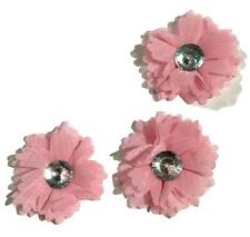"3 pieces light pink 2"" chiffon mesh flower w/ rhinestone center / DIY headband"