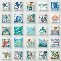 "18"" Retro Sea Animal Polyester Pillow Case Sofa Cushion Cover Throw Home Decor"