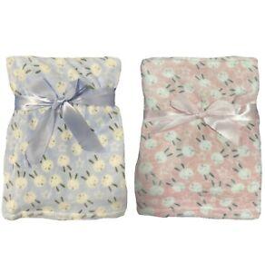 Baby Blanket Soft Fleece Pram Crib Moses Basket For Girls & Boys - Cute Rabbits