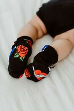 Metallimonsters tattoo flash baby booties alternative goth rock metal shoes