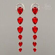 Rhodium Plated Ruby Red Crystal Rhinestone Long Wedding Drop Dangle Earrings 299