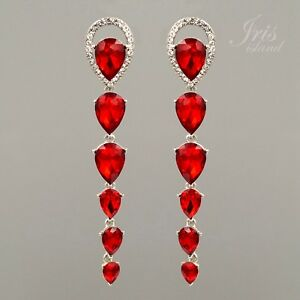 Rhodium Plated Ruby Red Crystal Rhinestone Long Tassel Drop Dangle Earrings 299