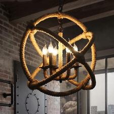 6-light Industrial Rope Orb Chandelier Ceiling Light Sphere Pendant Lamp Fixture
