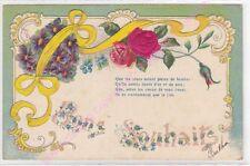 CPA GAUFREE EMBOSSED Bons souhaits fleurs violettes rose ruban jaune ca1911