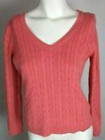 ANN TAYLOR LOFT Women's Sweater Sz M Pink Cable Knit Long Sleeve Cotton V-Neck