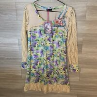 For Her Paris Anthropologie Dress Women's Sz M Lace Sleeve Embroidered