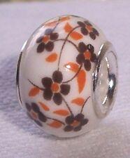 Brown Orange Retro Flowers Ceramic Bead fits Silver European Charm Bracelets