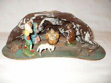 """Vintage Italy Christmas Nativity Creche Scene Paper Mache 10 1/4"""" W x 3 1/2"""" T"""