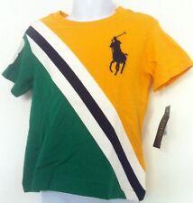Ralph Lauren Boys T-Shirt Yellow/Green Large Navy Logo Diagonal Stripe Sz 2T NWT