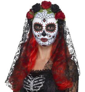 Déguisement Halloween Senorita Jour De The Dead Masque Visage Avec Voile Smiffys