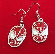 925 Silver Plt Spiderman Spidey Drop Dangle Earrings, Ladies Girls Gift Marvel