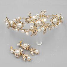 Pearl Crystal Headband Headpiece Tiara Earrings Bridal Wedding Jewelry Set  498G