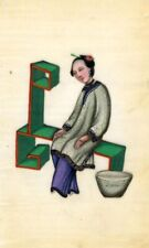 More details for antique 19th-century chinese pith painting, qing dynasty woman spinning silk