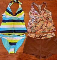 Athleta Lot of 2 Two Piece Tankini Swimsuit Bathing Suit Women's Size M