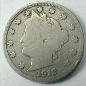 1912-S USA Key Date Liberty V Nickel in VG Condition   (780)