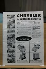 Brochure Chrysler Industrial Engines 1959 Detroit MI Heavy Equipment Road