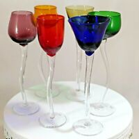 Vintage Set of 6 Hand Blown Colorful Cordial Glasses Bent Stem Various Styles