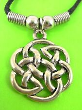 Circle Flower Celtic Knot by Cosmic Pewter. pewter pendant on choker cord