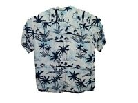 VTG 90s Pineapple Connection Men Large Hawaiian Shirt Blue Water Palm Trees