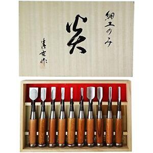 Japanese Chisel Nomi Carpentry Tool SET of 10 Blade Japan Woodworking