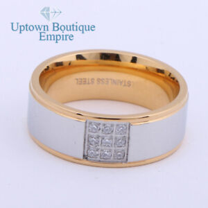 Men's Stainless Steel Two Tone CZ Micro Paved Engagement Ring Band Size 8-13#AJB