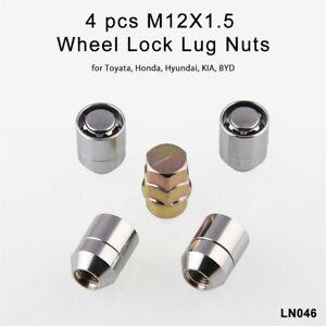 4PCS M12x1.5 Car Wheel Nuts Anti Theft Security Lock 1 Key + 4 Locks Alloy Steel