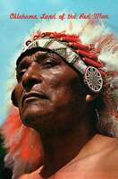 Oklahoma, Land of the Red Man, Indian Warrior, Native American, OK --- Postcard