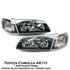 Crystal Black Headlight Lamp Set For JDM Toyota Corolla Sedan E111 AE111 99-00