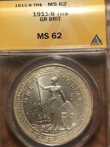 1911 Hong Kong Great Britain Silver Trade Dollar ANACS MS 62! Very Lustrous**